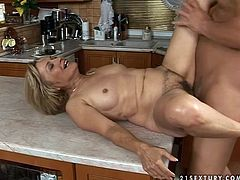 This lustful woman is a classy housewife. She has always been dedicated to her family. But today she drown in lust and passion. Watch her cheating on her hubby with stout young man. She gets banged hard from behind right o a kitchen counter.