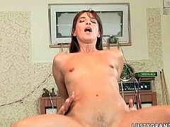 This insatiable brunette whore has no idea how to play pool but she is a super qualified slut when it comes to pleasing men. She bends over for doggy style pose to let her lover drill her twat hard. Then she rides him reverse cowgirl style. Check out this amazing sex video and I'm kinda sure you will enjoy watching it.