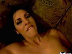 Lascivious brunette bombshell gets her stinky brown anal hole pounded missionary style before she stands in doggy pose to welcome hard drill from behind in peppering sex video by Pornstar.