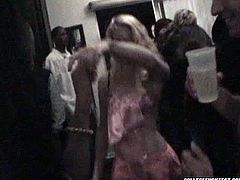 Group of drunk aroused students party hard in one chic's house. They drink bear and dance rubbing their steamy bodies over each other until one couple decides to cloister to fuck in privacy.