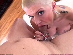 Cocky blonde cougar takes her dress and lingerie off. Then she drops to her knees and gives skillful blowjob in POV video. This hottie also get facialed.