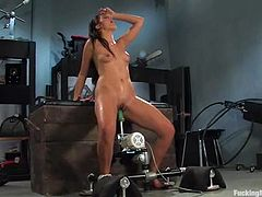 This amazing and horny chick Claire doesn't want to have sex with men anymore, as that machine has taken over her heart and pussy!