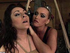 Two kinky dykes are fond of bondage. Spoiled brunette with nice tits gets fixed up with ropes. Slim blondie jams her tits and smacks her big ass till it gets red. Check out this steamy 21 Sextury femdom sex clip to jizz at once!