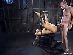 Barbara Summer is the blonde stunner getting her pussy fucked hard in this domination BDSM video with bondage action.