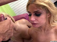 Dude, don't even hesitate to check out this hot Pornstar threesome sex clip. Two booty blond heads warm up by tickling their wet pussies and then start giving a solid double blowjob for sperm.