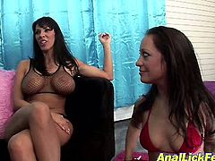 Two mind taking brunette sluts in peppering fishnet lingerie and knee high boots flirt with cam before one of them forces another slut suck her heels in perverse sex video by Pornstar.