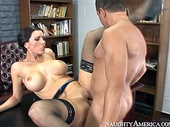 Horny brunette MILF with big fake boobs Dylan Ryder is getting pounded hard in her twat in a missionary position. Then she gets down on her knees sucking juicy cock of Pike Nelson deepthroat. Later in the clip, she bends over the table getting banged mercilessly in a doggy style sex position. Hell arousing office sex scene brought to you by Naughty America.