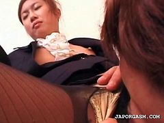 Redhead asian gets pussy hole fingered in close-up thru stockings