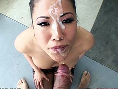 Superb Asian babe shakes her round ass and shows the pussy. Later on she sucks a cock and gives a titjob in POV video. The guy also cums on her pretty face.