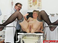 This blonde and a little chubby mature goes to the doctor for a regular check up. The doctor examines her pussy the most by inserting a speculum and other objects in it.