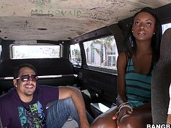 Press play and watch this beautiful ebony teen sucking on this guy's hard cock in the bang bus before she breaks up a sweat while being banged.
