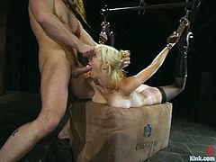 Adrianna Nicole is the blonde getting a hardcore domination and bondage fuck where she's tied up and banged hard.
