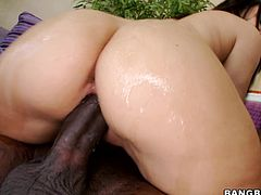 This petite and booty girl Gabriella Patltrova gets down on a huge black cock and sucks some cum out of it. But before that he pumps her wet beaver!