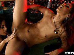Two fantastic brunette cuties Anita Pearl and Cindy Hope are getting naughty in a bar. They caress each other passionately and then please each other with awesome cunnilingus.