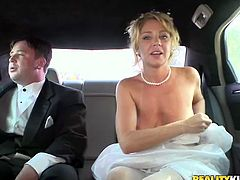 This newly wed bride is on her limo with her husband, but the one fucking her there is another dude!