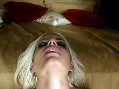 Salty blonde wearing black stockings jerks off dick and sends it deep in her throat. Horny stud penetrates her slit in doggy style and enjoys her gorgeous ass.