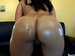 Naughty brunette with jaw dropping oiled ass swallows dick in doggy style. Watch her gorgeous bubbled ass right now. This babe is everything your lust desires.