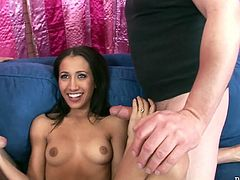 Nasty brunette is a proprietress of hell working mouth hole. She jerks off two dicks and swallows them greedily. Watch steamy duo blowjob for free.