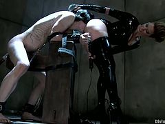 The naughty Maitresse Madeline is going to strapon fuck a guy in this femdom video where she shows him who the boss really is.
