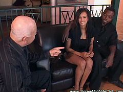 This gorgeous ebony decided she wants to try a white cock. She gets banged while her husband watches and gets creampied too.