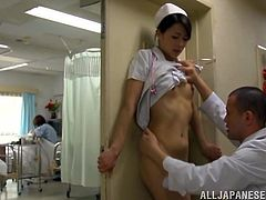 This gorgeous Japanese babe is a nurse and she gets seduced by a doctor, who had an eye on her! Now his cock is in her pussy and everything is perfect!