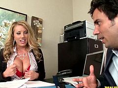 Busty blonde office slut enjoys a good fuck while at work along this hunk