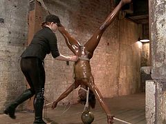 Ana Foxxx the slim ebony babe gets toyed in bondage video