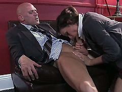 Nasty new assistant Allie Haze takes off her clothes and seduces her turned on boss with big hard bazooka Johnny Sins and gives him a nasty blowjob and cock riding on the couch