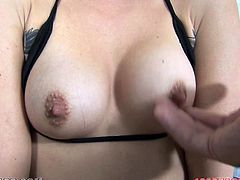 Stunning Cameron Canada shows her nice tits and pussy. Later on she gives messy blowjob to a big cocked dude. She also gets massive facial.