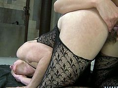You are welcome here to be pleased with two lustful lesbians. One mature bitch enjoys tongue job by sexy young brunette in doggy style position.