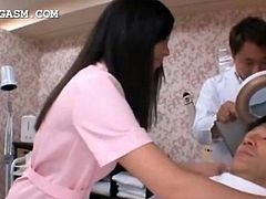 Brunette cute asian nurse gets caught in a hot threesome at work