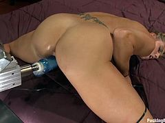 Big-breasted blonde Charisma Cappelli is having some good time before going to bed. She strokes her amazing tits and then gets her soaking wet snatch drilled hard by a fucking machine.