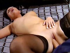 Watch this kinky brunette end up with a mouthful of cum in this hardcore video after she's nailed by a big cock.