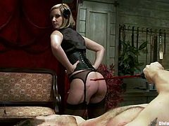Maitresse Madeline is going to dominate and spank this guy in this femdom session packed with bondage and torturing action.