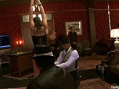 Krysta Kaos is getting naughty with Maestro Stefanos and his insatiable buddies. The men tie the slut up and play with her tits and holes.