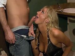 Three sexual, so sinful and so hot girls are going to share big throbbing cock of rich pal. He offered them a lot of cash for having foursome with him and they agreed.