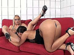 Brunette diva Eve Angel and blonde angel Mandy Dee are having fun in lesbian video. They stay in sexual outfits before licking and fingering pussies of each other.