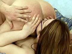 Kinky black haired chick in glasses has nice sweet tits. Pale nympho desires to get her cunt fucked from behind tough and sucks a tasty lollicock for gooey sperm with delight.
