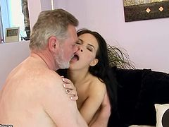 Bitchie slim brunette with natural tits desires to be fed with cum. So spoiled girlie with flossy ass seduces kinky old man right in the bathroom and gives a solid blowjob for sperm right away.