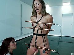 There's some wild bondage in this BDSM lesbian video for Kristina Rose who also gets tortured with electricity by Gia Dimarco.