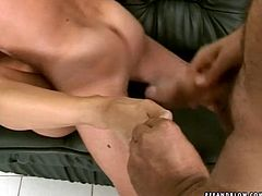 Fuckable brunette mom gets fucked doggy style while giving double mouth fuck