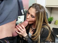 Stunning blonde girl working the office Rachel Roxxx is seduced by horny boss Billy Glide. He approaches her working desk thrusting his dick up in the air. The girl gets the hint right away so she starts sucking cock deepthroat. She also gives him hot titjob.