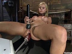 Beautiful blonde Jessie Rogers is having some fun with her new fucking machine. She pleases herself with fingering and then gets her holes drilled by two dildos at a time.