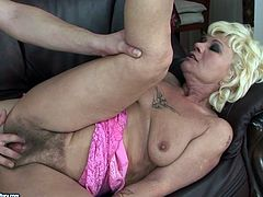 Dude, don't pass by this super great 21 Sextury xxx clip. Kinky blond haired old fatso with droopy big tits and huge ass is fond of getting her hairy wet mature cunt fucked from behind right on the sofa.