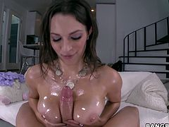 Oiled up babe toys herself with vegetables and rides a dick