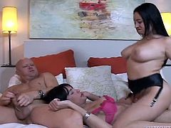 Curvy mom has no sex boundaries so she gets involved in dirty threesome. She is sucking cock of brutish bald stud while getting poked by horny shemale bitch.