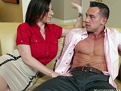 Super hot mature mom with big boobs and insatiable cock hunger is flirting with young stud. This dude has got solid body with strong ABS. So he makes her horny as fuck. Cougar mom seduces him for sex and gives stout blowjob.