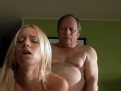 Sleazy old man fucks with jot young blonde in the kitchen