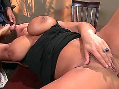 Busty and turned on brunette honey Lisa Ann gets her shaved taco licked in public as Mick Blue bends her over and lifts her skirt on the table in a restaurant