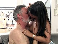 Welcome to enjoy a really great pro in giving a blowjob - sexy hot brunette with sweet boobs. Awesome hottie seduces old man and sucks his strong dick passionately for gooey cum.